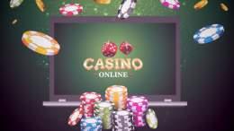 Casino online på dator med tärningar och spelmarker